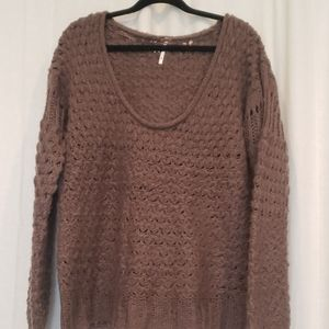 Free people brown chunky knit sweater